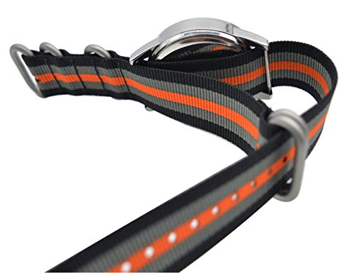 ArtStyle Watch Band with Colorful Nylon Material Strap and Heavy Duty Brushed Buckle (Black/Grey/Orange, 20mm) Photo #2