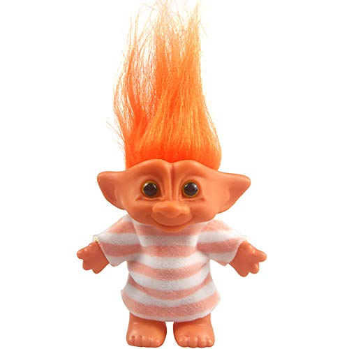 Yintlilocn Lucky Troll Dolls,Vintage Troll Dolls Chromatic Adorable for Collections, School Project, Arts and Crafts, Party Favors - 7.5 Tall Orange(Include The Length of Hair)