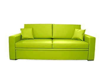 Divani Made In Italy.Ponti Divani Single Sofa Bed With Pull Out Bed Coating In Green Eco