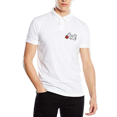 Kinggo Personalized Mens Breathable Tees Mickey Herz Mit Schleife Polo Shirts White (Polo-schleife)