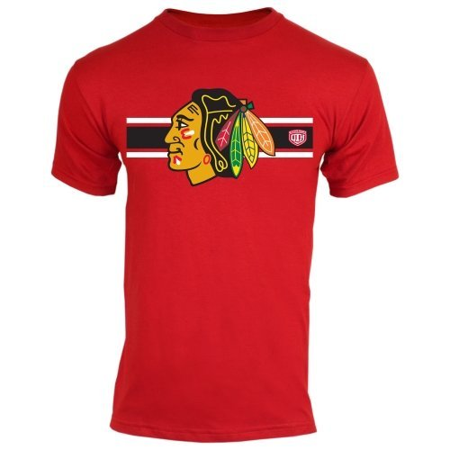 Chicago Blackhawks McQueen Red Jersey Stripe Primary Logo T-shirt Medium (Old Jerseys Time Hockey)