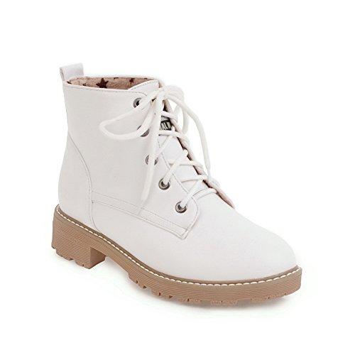 AdeeSu Womens Frayed-seams Bandage Bootie Urethane Boots SXC02488 White HuVz7RPJW