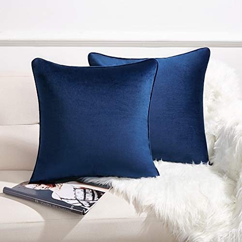 Anickal Set of 2 Navy Blue Velvet Pillow Covers Decorative Square Throw Pillow Covers 18x18 Inch for Sofa Couch Decoration (Throw Blue Velvet Pillow)