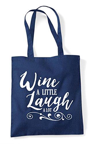 Navy Laugh A Statement Wine Little Shopper Tote Bag Lot ZWUOqgn7