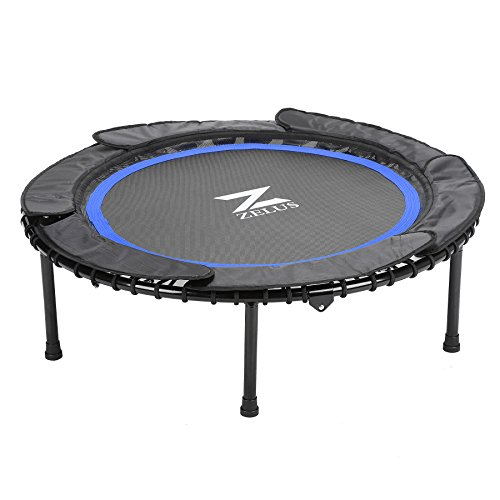 ZELUS Pro 40'' Foldable Mini Trampoline Rebounder, Assembly-Free, w/ Safety Bungee Cover, Rubber Ribbon & Textured Jump Mat for Outdoor Cardio Exercise (Free Rebounder)