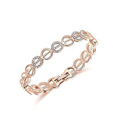 3411e77fb Genuine Rose Jewellery 18ct Real Rose Gold Plated circle Links Bangle  Bracelet With Swarovski Crystals: Amazon.co.uk: Jewellery