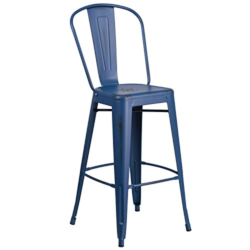 Flash Furniture 30'' High Distressed Antique Blue Metal Indoor-Outdoor Barstool with Back (Sale For Distressed Furniture)