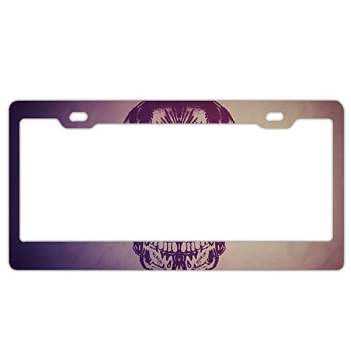 Frame Cover Aluminum Diamond Plate - Jailjack License Plate Frames, Skull With Diamond Eyes Artistic Aluminum alloy Car Licence Plate Covers