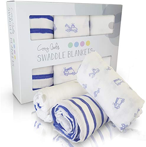 Newborn Swaddle Blankets Set [3-Pack] - Ultra Soft, Bamboo Cotton Muslin Receiving Blankets - Hypoallergenic & Chemical-Free - Perfect Baby Gifts for Boy Baby Shower (Broom Broom Cars)