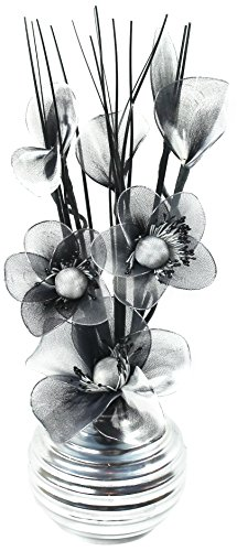 Flourish 705947 813 Silver Vase with Black and White Nylon Artificial Flowers in Vase, Fake Flowers, Ornaments, Small Gift, Home Accessories, 32cm by Flourish