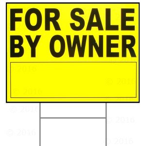 18 x 24 For Sale by Owner Sign w/ H Stake