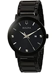 Bulova Mens Modern Quartz Stainless Steel Casual Watch, Color:Black (Model: 98D144)