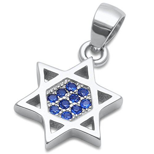 Mm Blue Star Sapphire - Simulated Blue Sapphire Star of David .925 Sterling Silver Pendant