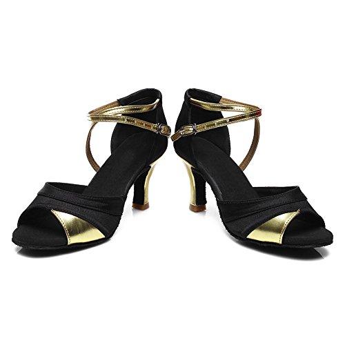 SWDZM de modelo Satén Zapatos Ballroom Gold baile ES baile 7cm Tacón 221 Zapatos de latino de Mujer estándar EpqEFr