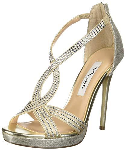 Heels Metallic Nina (NINA Women's Fianna Heeled Sandal, White/Gold, 9 M US)
