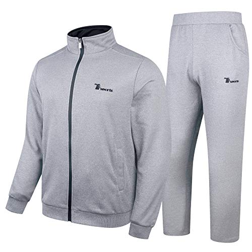 YSENTO Men's Athletic Tracksuit Jogging Running Sports Sweatsuits 2 Pieces Light Grey Size XL