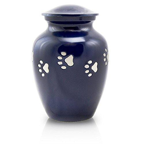 Paw Print Bronze Pet Urn - Large - Holds Up To 120 Cubic Inches of Ashes - Midnight Blue - Engraving Sold Separately