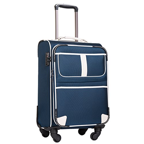Coolife Luggage Expandable Suitcase Spinner Softshell TSA Lock (S(20in), Navy.) - Navy Small Rolling Luggage