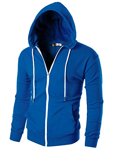 white and light blue hoodie men - 1