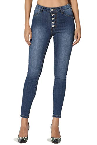 TheMogan Women's Button Up Natural High Rise Stretch Cropped Skinny Jeans Dark ()