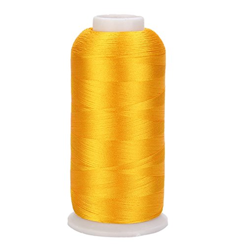 TO_GeT For Home Tools_TgT 1 Pc 5000m Cones Polyester Bobbin Thread Filament For Embroidery Machine Household Sweing Handmade Tools Accessories Color Yellow
