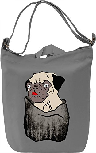 Pug Middle Finger Borsa Giornaliera Canvas Canvas Day Bag| 100% Premium Cotton Canvas| DTG Printing|