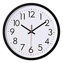 Lucor Black Wall Clock, Silent Non-Ticking 12 Inch Quality Quartz Battery Operated Round Easy to Read Decorative for Home Office School