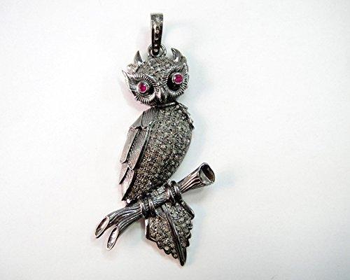 Oxidized Owl Design Rose Cut Diamond Pendant - Pave Rose Cut Diamond Pendant - 925 Sterling Silver Pendant - Diamond 925 Silver Pendant - Handmade Pendant - Victorian Style Pendant