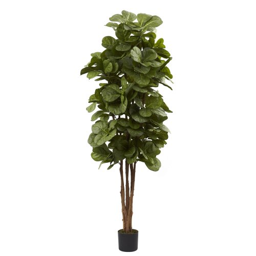 Nearly Natural 5346 Fiddle Leaf Fig Tree, 6-Feet, - Plant Green Leaves