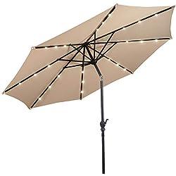 Giantex 10ft Solar Patio Umbrella Sunbrella with LED Lighted, 8 Ribs Market Steel Tilt w/Crank for Garden, Deck, Backyard, Pool Indoor Outdoor Use, Beige NewStyle