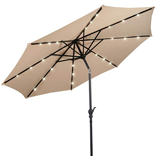 Giantex 10ft Solar Patio Umbrella Sunbrella with LED Lighted, 8 Ribs Market Steel Tilt w/Crank for Garden, Deck, Backyard, Pool Indoor Outdoor Use, Beige