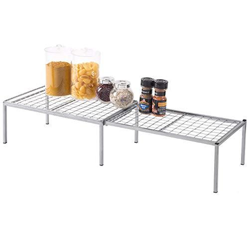 Expandable Metal Wire Frame Kitchen Counter Shelf, Cabinet Storage Rack Organizer, Silver