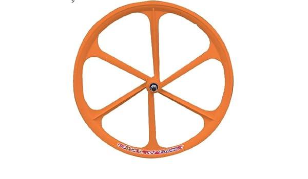 6 radios Llanta, rueda trasera, de aluminio magnesio, Neon Naranja: Amazon.es: Coche y moto