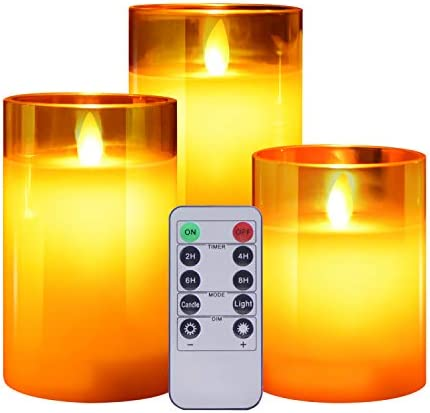ACROSS Flickering Flameless Candles with Glass Holder, Set of 3 H4 5 6 xD3 Battery Operation Real Wax Realistic Dancing Wick Led Pillar Candles with Remote Cycling 24 Hours Timer Gold