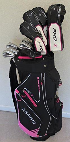 Petiteレディースゴルフセットクラブ – For Ladies 5 ft 5 ft 6 in Tallドライバ、木製、クラブハイブリッド2、アイアン、パターCompleteクラブとデラックスカートバッグ