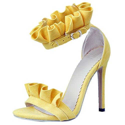 AIYOUMEI Damen Stiletto High Heels Sandals mit Spitze und 10cm Absatz Abend Schuhe(34-48) Gelb