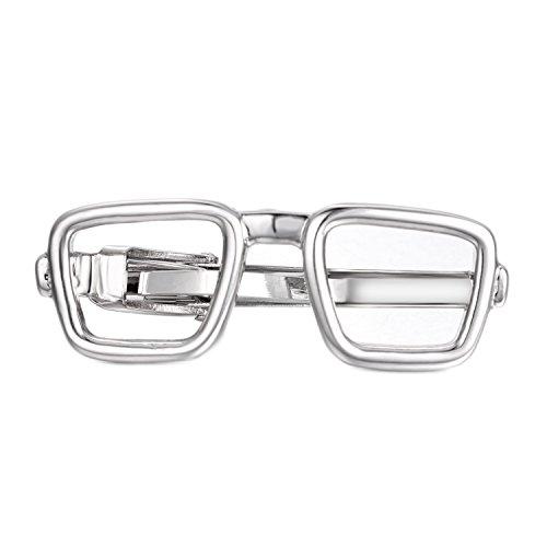 Yoursfs Glasses Tie Clip Men Skinny Tie Bar Silver Square Eyeglasses Wedding Party Tie Pin Unique