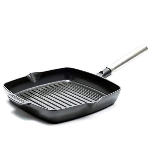 GreenPan CC001931-001 SimmerLite 10'' Grill Pan 11', Slate