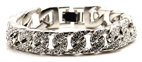 Xusamss Hip Hop Stainless Steel Buckle Bangle,Crystal Cuffs Link Bracelet,8.0inches by Xusamss