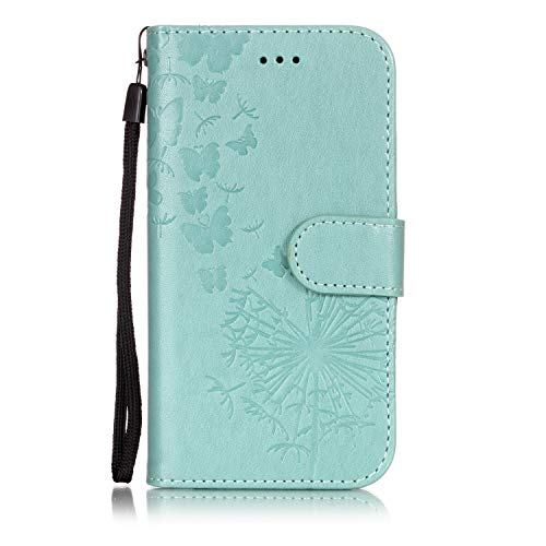 Ivy [Butterflies & Dandelions][Card Holder] Wrist Strap PU Leather FILP Cover Wallet Phone Cases for Samusng Galaxy S3/S III SM-I9300 - Green