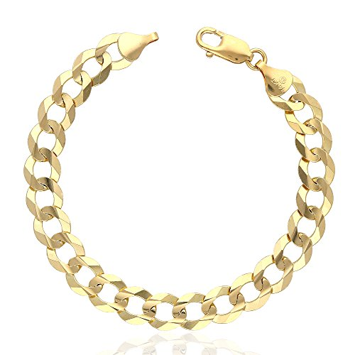 14k Fully Solid Yellow Gold 10mm Polished Cuban Curb Bracelet 8.5'' by WJD Exclusives