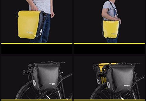 ROCKBROS Fahrradtasche für Gepäckträger Schwarz - Wasserdicht mit abnehmbarem Schultergurt - inkl. GRATIS-Silikonarmband - Fassungsvermögen 18L - Gepäckträgertasche mit Rollverschluss - Gepäcktasche
