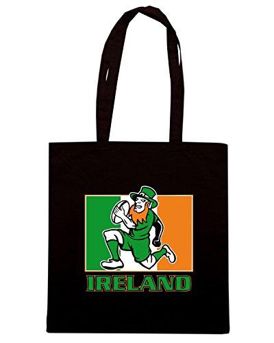T-Shirtshock - Bolsa para la compra TRUG0114 irish leprechaun rugby 2 logo Negro