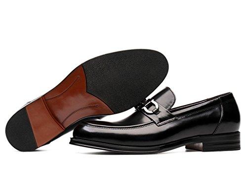 Zapatos Clásicos de Piel para Hombre Zapatos de cuero de los hombres de la primavera Zapatos casuales de negocios Cabeza redonda Zapatos de la boda del desgaste formal de estilo británico Zapatos de m Negro
