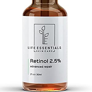 Retinol Serum 2.5% for Wrinkles, Fine Lines, Acne Scars, Skin Blemishes & Minimizes Pores - Vitamin A + Hyaluronic Acid, Vitamin E, Organic Green Tea, Jojoba Oil - Organic, Natural & Cruelty Free