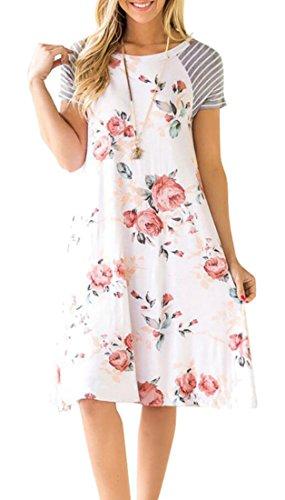 Print Patchwork 2 Women Summer Floral Short Sleeve Striped Dresses Mini Fit Loose Jaycargogo xqBpwfnUZ