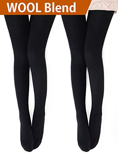 VERO MONTE 2 Pairs Womens Wool Blend Cable Knit Tights - Knitted Tights (Black)