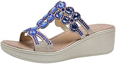 Thenxin Women Wedge Slippers Comfortable Bohemian Sandals Fashion Rhinestone Slip On Beach Shoes / Thenxin Women Wedge Slippers Comfortable Bohemian Sandals Fashion Rhinestone Slip On Beach Shoes