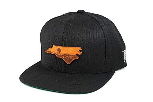 Ridge Blue Leather (Branded Bills North Carolina 'The Blue Ridge' Leather Patch Snapback Hat - OSFA/Black)