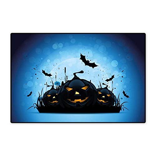 Halloween Door Mats for Inside Scary Pumpkins in Grass with Bats Full Moon Traditional Composition Floor mat Bath Mat 20